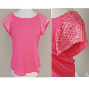 Express Hot Pink Short Sleeve Sequin Blouse Top XS